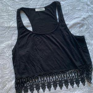 Black cropped Razorback lace detail tank